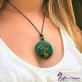 ORGONITE NECKLACE, Tree of Life, EMF-Protection energy generator - Contains quartz, crystals, malachite, tiger eye, resin, metals-daily use-yoga meditation, handmade, Arte Orgones