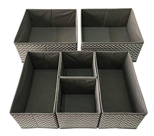 Sodynee Foldable Cloth Storage Box Closet Dresser Drawer Organizer Cube Basket Bins Containers Divider with Drawers for Underwear, Bras, Socks, Ties, Scarves, 6 Pack, Stripe