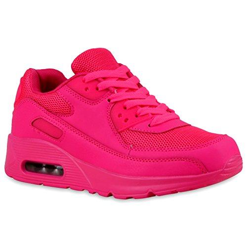stiefelparadies Damen Sport Lack Sneakers Schnürer Sneaker Low Lauf Runners MetallicNeon Leder-Optik CamouflageGlitzer Schuhe 110751 Pink 39 Flandell