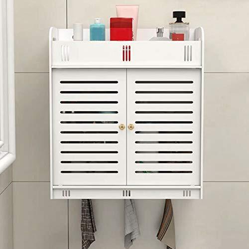 Zoternen Badezimmer Wandschrank, Weißer Hängeschrank aus Holz, 2 Türen Badschrank mit Starker Saughaken, Wandschrank für Küchen, Badezimmer und Wohnzimmer, 37,5 x 17,2 x 43cm