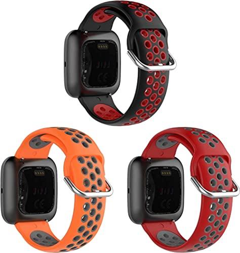 Gransho Armband kompatibel mit Fitbit Versa 2 / Versa 2 SE/Versa Lite/Versa smartwatch, Silikon Sportarmband Uhr Band Strap Ersatzarmband Uhrenarmband (3-Pack G)