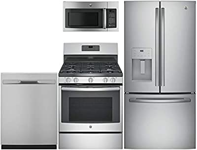 "GE 4-Piece Kitchen Package with GFE24JSKSS 33"" Fridge, JGB660SEJSS 30"" Freestanding Gas Range, GDP615HSMSS 24"" Fully Integ. Dishwasher and JNM3163RJSS 30"" Over the Range Microwave in Stainless Steel"