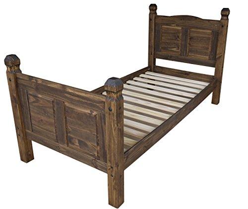 Brasilmöbel Bett Rio Classico 90 x 200 cm - Pinie Massivholz Eiche antik - in vielen verschiedenen Farben - edles Pinienholz - massiv aus nachhaltiger Forstwirtschaft - Schlafzimmer Pinienmöbel