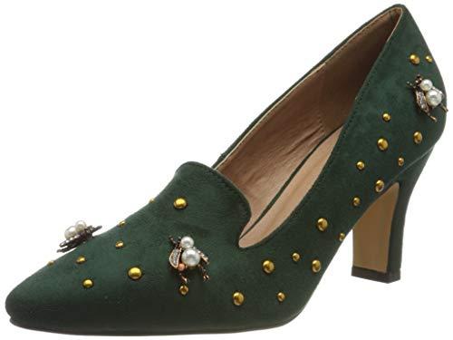 El Caballo Alanís, Zapato de tacón Mujer, Verde, 36 EU
