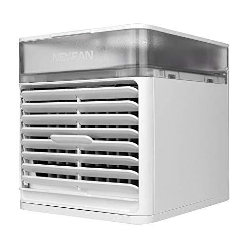 Sunnymi - Aire acondicionado USB de 3 velocidades con 7 colores LED, modo de luz LED, ventilador de mesa, ventilador de escritorio con luz LED, para hogar y oficina (blanco)