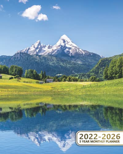 2022-2026 5 Year Monthly Planner: Organizer Calendar & Schedule Agenda with To Do Lists, Notes, Vision Boards & Inspirational Quotes | Fantastic Green Alpine Meadows, Alps, Switzerland
