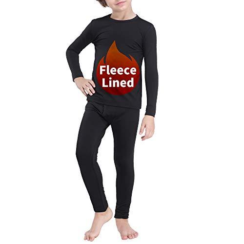 Kuetas Thermal Long Underwear for Boy Kids Fleece Lined Long Johns Set Winter Base Layer Undershirt Top Bottoms Crew Neck Black S