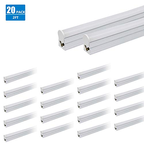 LED T5 Linkable Integrated Tube 2FT 1000lm 4100K 12W Perfect for Shop Light Ceiling and Under Cabinet Light with Built-in Drivers UL DLC Certified Pack of 20