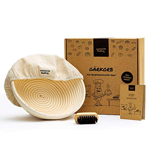 tastory® Gärkorb Set rund 25cm inkl. Holzbürste & Rezept I 1kg Brot Gärkörbchen aus Peddigrohr zum Brot backen I Garkörbchen, Brotkörbchen, Brotform