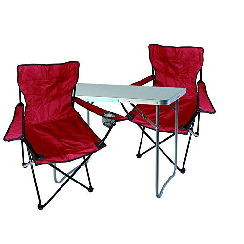 Mojawo 3tlg. Campingmöbel Set Alu 80x60x68cm 1x XL Campingtisch mit Tragegriff + 2 Anglerstühle, Faltstühle Campingstühle rot