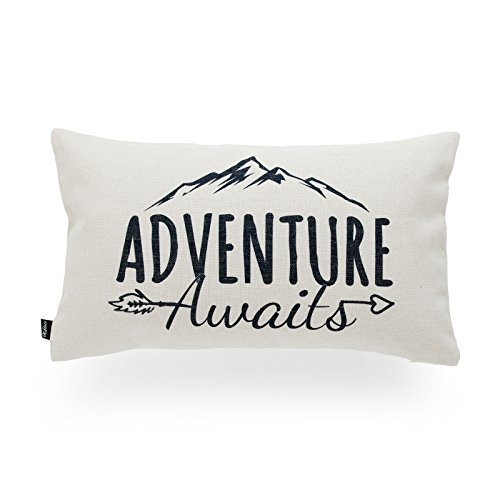Hofdeco Decorative Cushion Cover HEAVY WEIGHT Cotton Linen Spirit Quotes Adventure Awaits Word 30cmx50cm