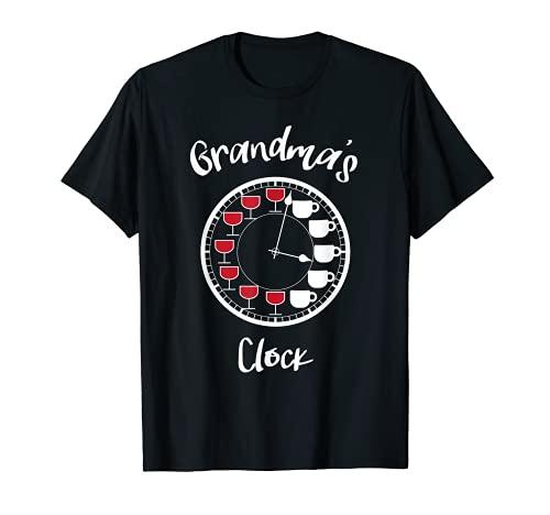 Divertidas camisas de vino y café para mujer - reloj de la abuela Camiseta