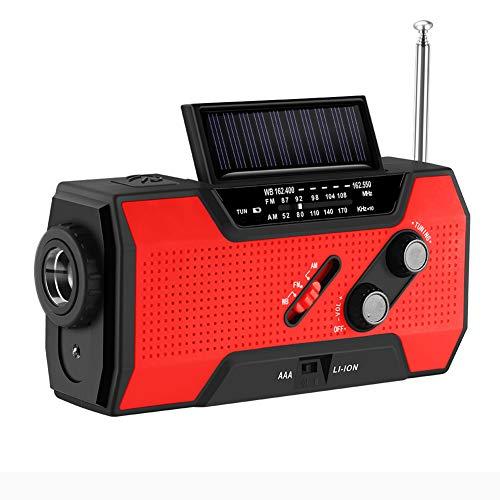 YRX Météo Radio d'urgence Solaire à manivelle autoalimentée 3AAA Batterie Lampe de Poche 2000 mAh Banque d'alimentation Multi-usages,Rouge