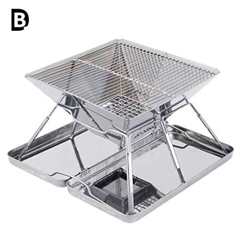 B-D Portable Et Pliable Barbecue De Table Au Charbon De en Acier Inoxydable, Four De Charbon Portable Robuste 31 * 31 * 22Cm Boîte en Acier 3-5 Personnes pour Pique-Nique Camping