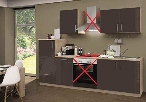 Menke Küchenzeile 270 cm Hochglanz Lava ohne Geräte mit Spüle - Smart Lack Hochglanz Lava