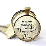 Llavero de escritura cristiana – Salm 81:7 colgante joyería cristiana bíblica cita verso...