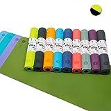 Aisoco Tapis de Yoga Pilates, Combinaison du Caoutchouc Naturel avec TPE, Nouveau et amélioré, antidérapant, Durable, Douce, résistant, 4 mm - Sac Portable
