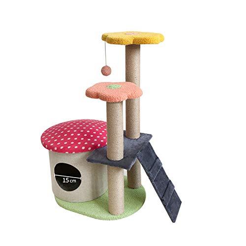 JCXOZ Árbol de Gato, Torre de Gato pequeño, condominio, rasguño Post Kitty Activity Center Kitten Play House Arboles para Gatos (Color : Pink)