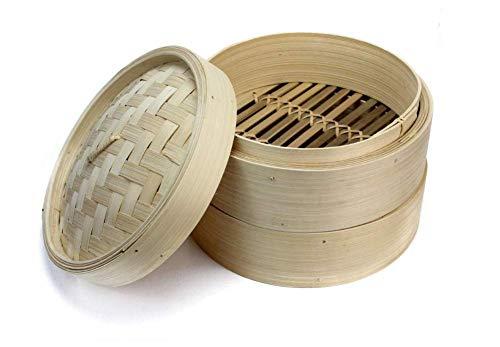 Norden Kochgeschirr-Tools 2 Tier Bambusdampfer mit 2 Dämpfende Körbe und 1 Deckel Chinesische Küche Kochgeschirr for das Kochen Fisch Aufstieg Pasta Gemüse Dim Sum
