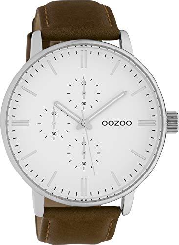 Oozoo Herrenuhr mit Lederband 50 MM Weiß/Braun C10311