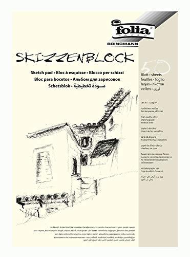 folia 8304 - Skizzenblock, DIN A4, 120 g/qm, weiß, 50 Blatt - hochfeines, weißes Zeichenpapier, chlorfrei
