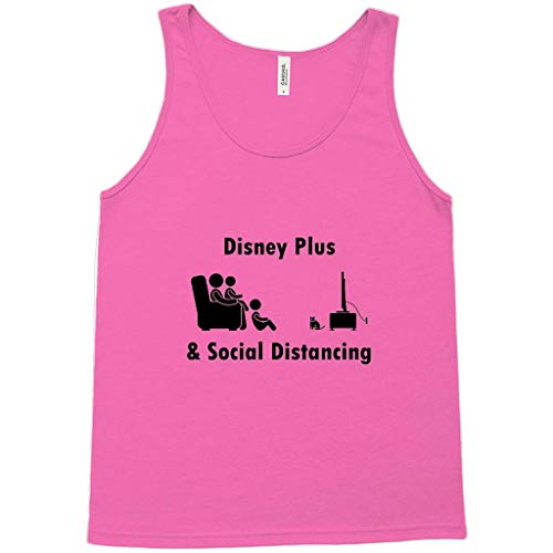Disney Plus & Social Distancing Family with Cat! Novelty Tank Top T-Shirt Neon Pink