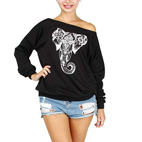 Rysly Womens Sexy Sweatshirts Casual Pullover Off The Shoulder Shirt Plus Size XL Black Elephant