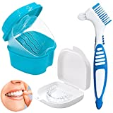 Dentiera Storage Box,supporto per protesi,scatola per protesi con cestello di lavaggio,contenitori da viaggio con spazzola,per pulizia denti