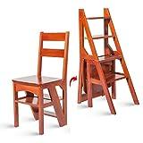 Escalera plegable taburete banqueta Silla de escalera 2 en 1, Taburete plegable de madera multifuncional for niños/adultos/adultos mayores for cocina de interior, carga 90 kg