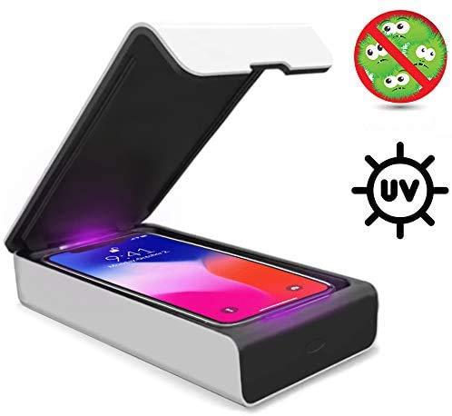 Mitsuru® UV Desinfektionsgerät + USB-Ladeport für Smartphone, Handys. Kompatibel mit iPhone 8 / X / 11 / Pro, Galaxy S7/S8/S9 /S10 / S20 / S20+ und Anderen. Für Desinfektion von Schmuck, Uhren usw