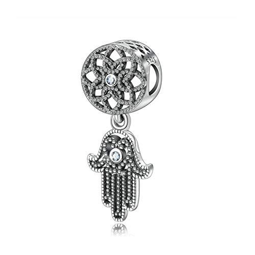 Abalorio de plata de ley 925 con diseño de mano de Fátima para pulsera Pandora A
