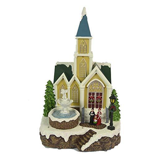 Villaggio di Natale innevato con Chiesa Coro Bambini Albero di Natale in Movimento, Paesaggio con Luci LED e Musica Babbo Scenario Natalizio Parco Giochi Carillon Musicale 32x20x20 cm Giostrina