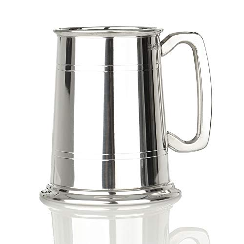 Eburya Kings Shilling Glasboden Bierkrug aus England - 1 Pint - Zinn & Glas - Zinnkrug