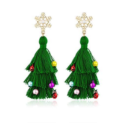 Lightweight Christmas Tree Tassel Beaded Earrings, Bohemian Dangle Drop Green Earrings, Twined with Colored Beads Earring for Women Girls Gift