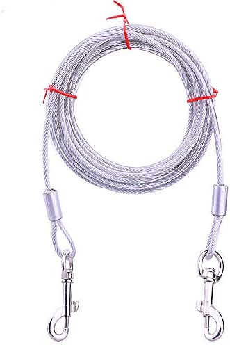LALA LIFE Stainless Steel Tie-Out Cable/Leash for Dogs (Silver:15 feet)