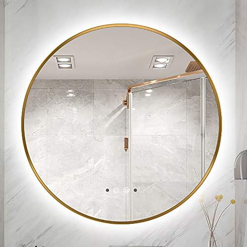 GETZ Espejo de Baño Redondo con Iluminación LED, Espejos Decorativos Modernos para Baño con 3 Colores de Luz y Botón Táctil Regulable, Función Antivaho, Detección del Cuerpo Humano