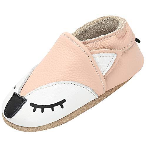 Scarpe in Pelle per Bambini Morbido Comode Pantofole per Neonati Antiscivolo Pelle Scamosciata Scarpe Bimbi per Primi Passi Interno All'aperto, Volpe Beige 0-6 Mesi