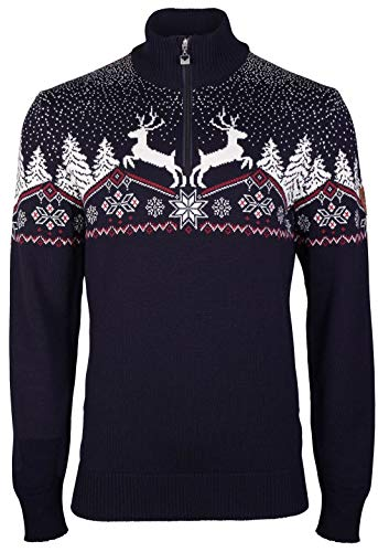 Dale of Norway Herren Dale Christmas Masc Pullover L Marineblau, Rose, Off-White