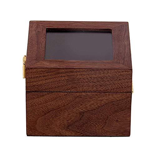 XJF Caja expositora de reloj con tapa de cristal transparente, caja de almacenamiento de joyas de madera de 12 x 12 x 8 cm
