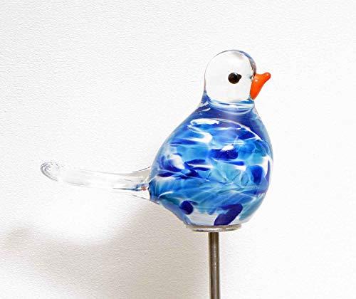 MP Glaszauber Vogel - Spatz auf Stab Azur Glas H 84 cm Gartenstecker handgefertigte Gartenstele Gartenkugel