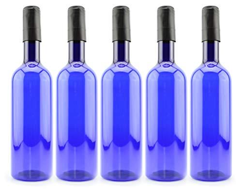 Cornucopia Plastic Wine Bottles (5-Pack, Blue); Empty Bordeaux-Style Wine Bottles with Screw Caps and Seals