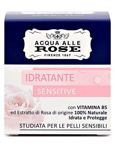 Acqua alle Rose, Crema Viso Idratante Sensitive, Con Vitamina B5 ed Estratto di Rosa di Origine 100% Naturale, Pelli Secche o Sensibili - 50 ml