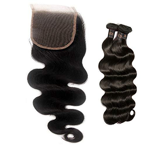 STfantasy Human Hair Closure 4'x4' Free Part Lace Closure 100% Brazilian Virgin with Hair Bundles Body Wave Unprocessed Hair Extensions