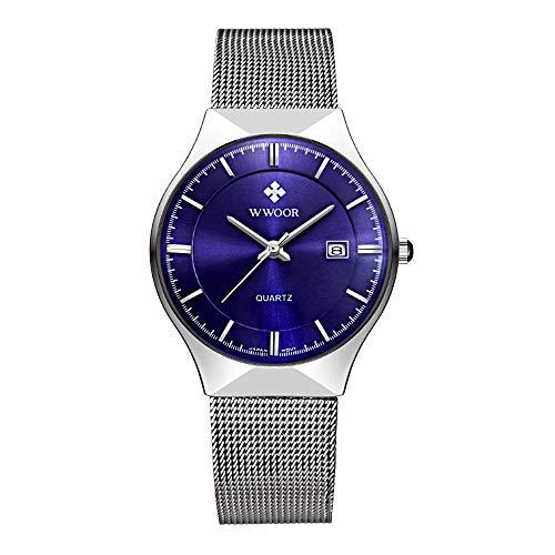 HopeU5 WWOOR orologio da polso al quarzo analogico in acciaio inossidabile ultra sottile da uomo con cinturino regolabile in mesh decorato con la finestra della data impermeabile (Blu)