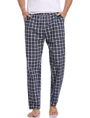 Aibrou Pantalones de Pijama Hombre Algodon Pijamas a Cuadros para Hombre