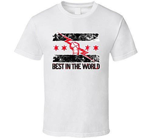 NSEHIK cm Punk Best in The World Wrestling Camiseta, Negro, Medium