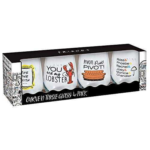 Friends Favorites Curved Table 21 Ounce Stemless Wine Glass 4 Pack Gift Set - Friends the TV Show