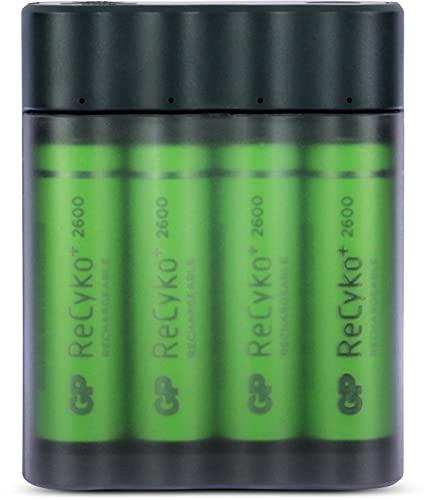 GP TONER GP Batteries Charge Anyway X411, Portable Powerbank und Rundzellen Akku-Ladegerät NiMH Micro (AAA), Mignon (AA), inkl. 4X Akkus AA