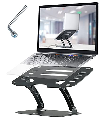 WOOVFU Adjustable Laptop Stand, Ergonomic Computer Stand for Desk, Portable Laptops Stand Riser with Heat-Vent Aluminum Holder Compatible with MacBook, Air Pro, Dell, Lenovo, HP, 10-16' Laptops, Gray