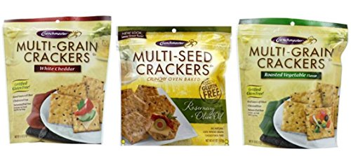 Crunchmaster Gluten Free Baked Crackers 3 Flavor Variety Bundle: (1) White Cheddar Crackers, (1) Rosemary & Olive Oil, and (1) Roasted Vegetable, 4.5 Oz. Ea. (3 Bags)